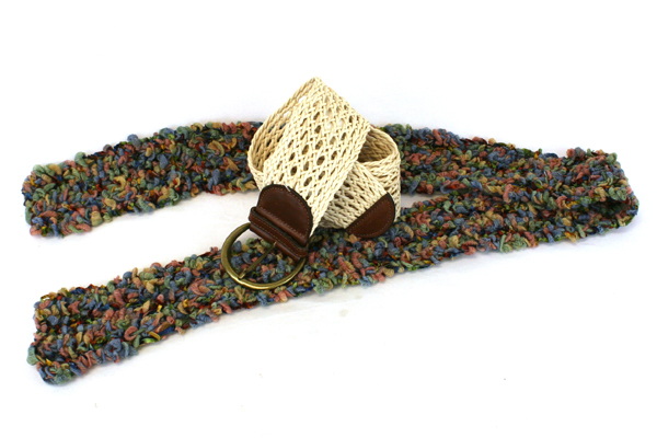 Lot of 2 Accessories - GAP Belt Size 34 L & Multi-Colored Novelty Yarn Scarf