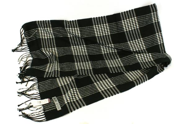 Amanda Smith Acrylic Black & White Plaid Scarf & American Living Belt Size Large