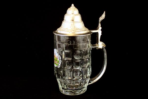 0.5L Furstenhof Bad Wildungen Glass Beer Mug with Lid