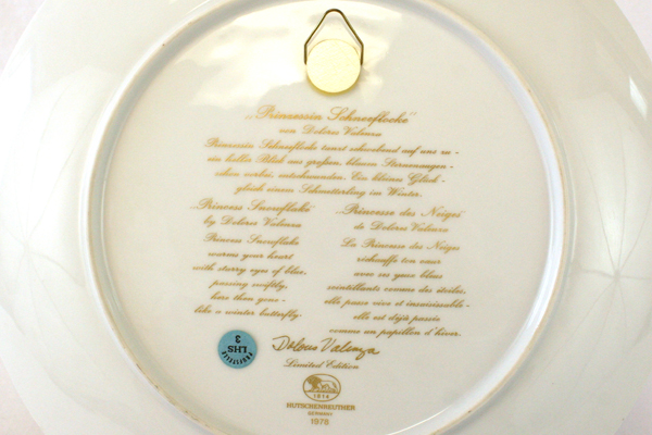 1978 Hutschenreuther Germany Prinzessin Schneeflocke Princess Snowflake Plate