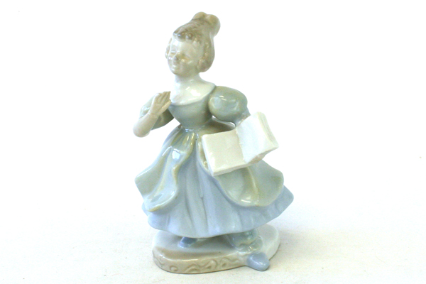 Vintage Kalk Singing Woman With Songbook Figurine (As-Is)