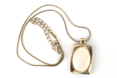 Vintage K.C. Jewelry MFG. Necklace Silver Rectangle With White Oval Stone