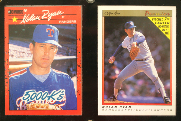 Nolan Ryan MLB Framed Set of 3 1989 and Two 1991 Player Cards