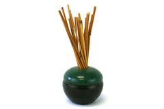 Vintage Hand Made Green And Black Pottery Reed Diffuser Signed
