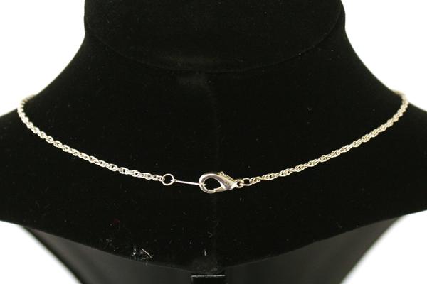 "10"" Rhinestone Silver Tone & Brass Ring Necklace"