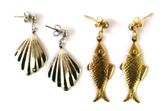 Two Pair Of Metal Fish And Shell Post Earrings