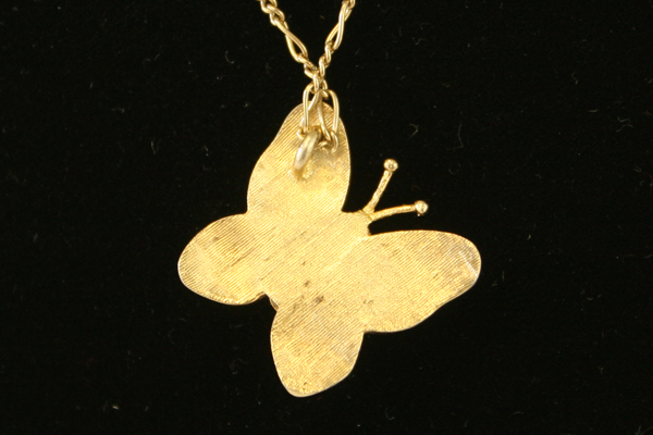 Gold Tone Butterfly Pendant Necklace with Opal Center
