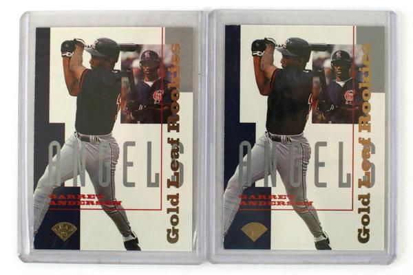 California Angels Garret Anderson - 2 Baseball Card Lot Rookie 1995 Gold Leaf