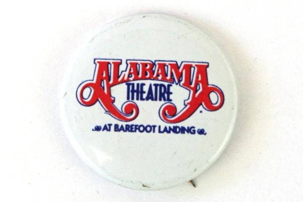 "Alabama Theatre At Barefoot Landing White Tin Button 1"" Round"
