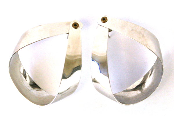 Lot of 2 Silver Tone Post Earrings & Squiggle Lapel Hat Pin