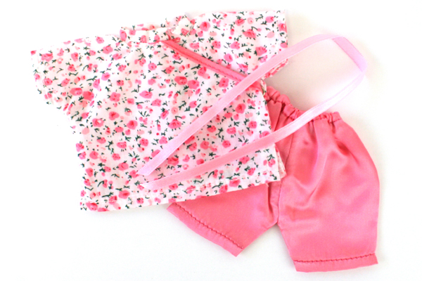 China Doll 2-Pc Outfit Pink Satin Pants & Floral Shirt for Mieler Doll