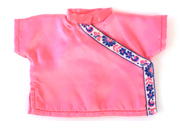 China Doll 2-Pc Outfit Pink Satin Pants & Shirt w/ Embroidered Blue Flowers