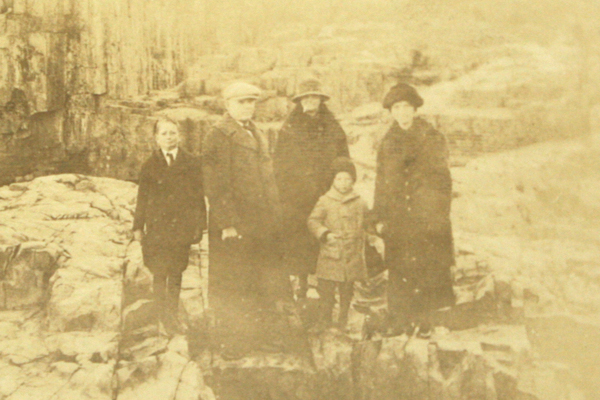 Vintage Real Snapshot Sepia Photograph Family of 5 at Mystery Location