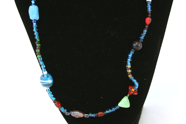 Lot of 2 Colorful Beaded Necklace & Orange Flip Flop Stretch Toe Ring