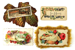 Lot of 4 Antique Greeting Cards/Place Cards From the Early 1900s/Late 1800s