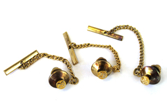 Three Vintage Brass Tie Tacks With The Numbers 28-29-30