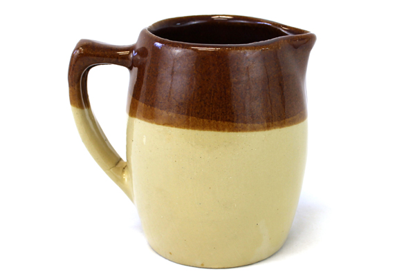 """Vintage 5.25"""" Tall Brown And Beige Stoneware Pitcher (As-Is)"""