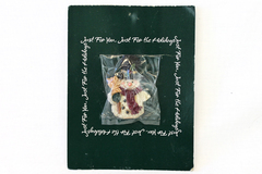 AGC American Holiday Hand-Painted Snowman Clay Pin on Card