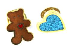 Lot of 2 Heart Pins Hallmark Teddy Bear 1986 & Blue Deco for Lapel Hat