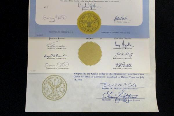 1968 & 1969 Boy Scouts Charter Certificate McMinnville OR Elks Club Troop 233
