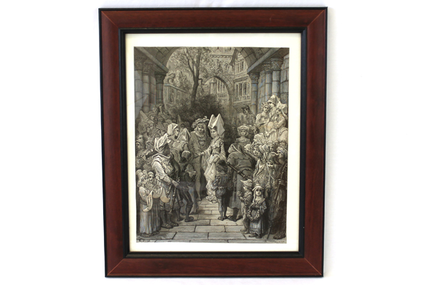 Framed Gustave Dore Print Courtyard Greeting Quesnel
