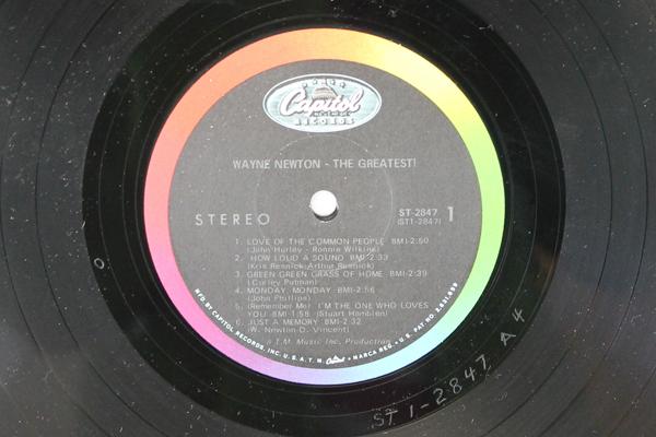 "Wayne Newton The Greatest! Capitol Recors ST 2847 33 RPM 12"" Record"