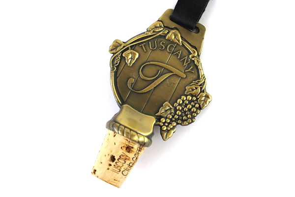 Tuscany Golf Club Wine Stopper Brass Cork Embossed Grapes and Leaves