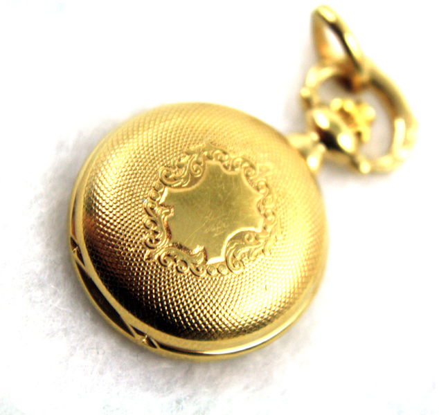 BERNEY Roman Numerals Swiss Pocket Watch Pendant with Gold Shield Overlay