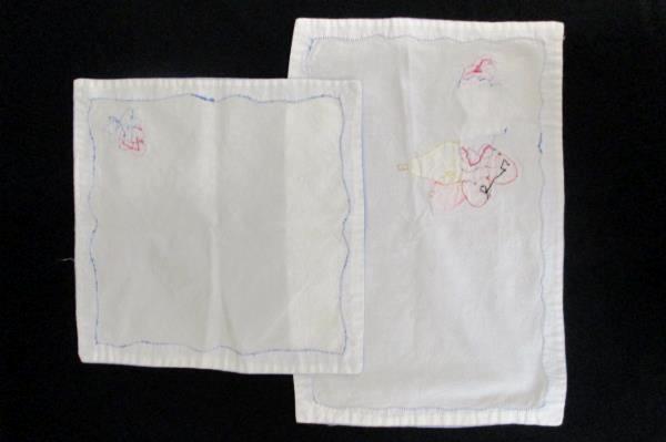 4 Handmade Bue White Fruit Fabric Placemats & 3 Linen Napkins