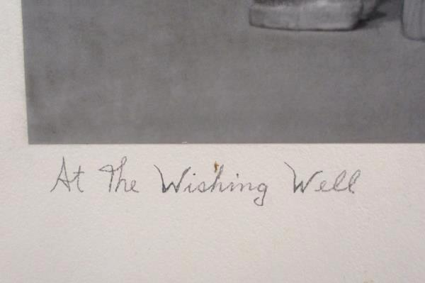 At the Wishing Well Photograph On Board 20x16 Signed Artist Jeanne Pfeiffer 1953