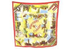 "Vintage Toronto Ontario Canada Souvenir Scarf 30"" Square Airport Parliament Park"