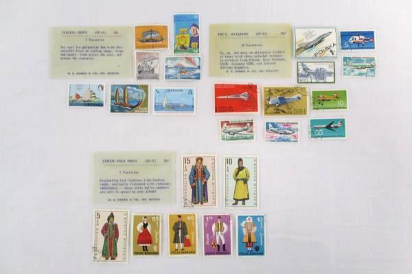 Lot of 3 H.E Harris Stamps Aviation Sailing Ships Exotic Folk Dress