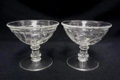 Set of 2 Cordial Sorbet Dessert Pedestal Glasses Swirl Design Clear Glass
