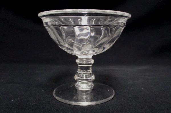 Set of 2 Cordial Sorbet Dessert Pedestal Glasses Swirl Design Clear Glass