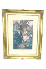 1991 Share Tanzer Framed and Matted Pastel on Canvas Girl Boy Folktale