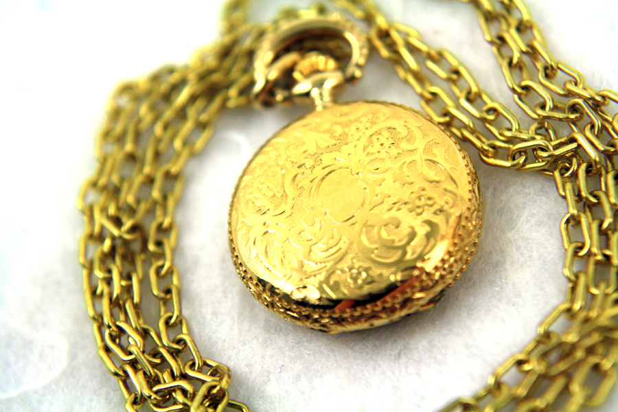 BERNEY Swiss Mini Pocket WATCH PENDANT Gold Overlay - Engraved Shield