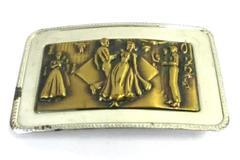 Vintage Square Dancing Belt Buckle Western Wear Nickel SIlver