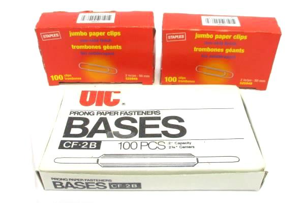 Lot of Office Supplies Bostitch B440 Stapler Paper Fasteners Paper Clips Staples
