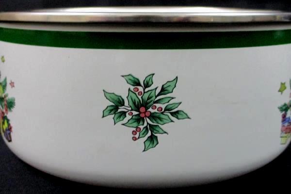 "3 Nikko Ceramics Inc ""Christmastime"" Ceramic Over Metal Nesting Bowls"