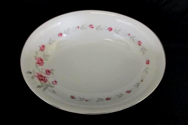 """Norleans Fine China Oval Serving Bowl Bridal Rose Pattern 8""""x10.5"""" Stamped"""