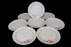 "8 Norleans Fine China Dinner Plates 10.5"" Diameter Bridal Rose Pattern"