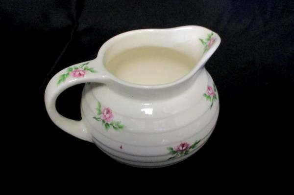 James River Potteries Creamer Pitcher Lidded Sugar Bowl Virginia White Pink Rose