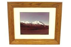 "Three Sisters Mountain Range Color Photograph Large 10"" by 8"" Framed Matted"