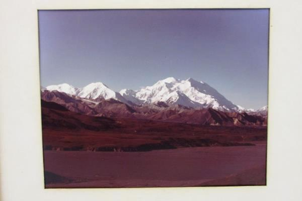 """Three Sisters Mountain Range Color Photograph Large 10"""" by 8"""" Framed Matted"""