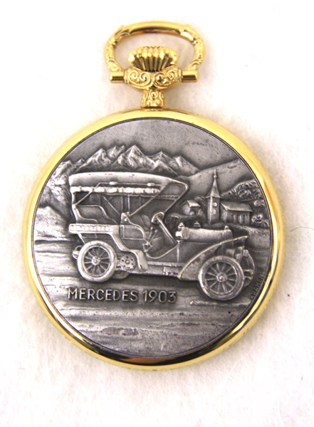 BERNEY Two Tone 1903 Mercedes Open Face POCKET WATCH New!
