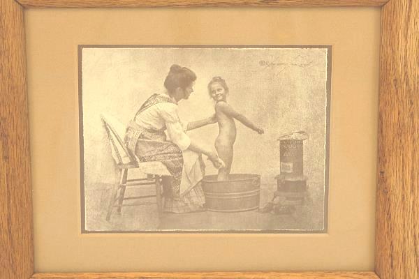 Framed Mother Bathing Child in Wash Basin Litho Print Artist Sign R. Hendrickson
