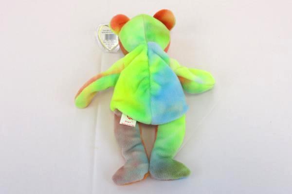 RARE Tag Errors Ty Beanie Baby Tie Dye Peace Bear 1996 Summer Transitional