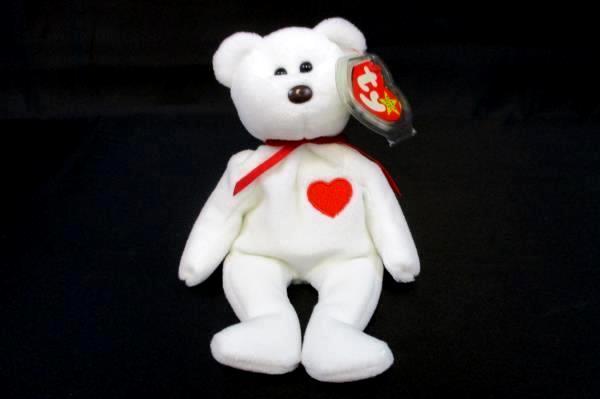 Rare Ty Valentino Bear Beanie Babies 1994 (4058) Many Errors Hang Tag Protector