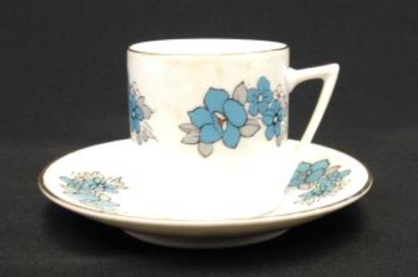 Vintage Chinese Porcelain Demitasse Cup & Saucer Set Blue Flowers