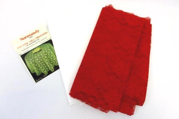 """Vintage NORMANDY Red Lace Tablecloth 52"""" Square with Liner Floral Holiday Party"""